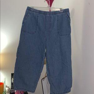 Basic Editions Drawstring Jean Capri Pants